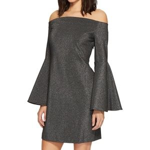 NWT Metallic Silver Off Shoulder Bell Sleeve Dress